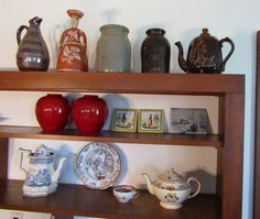 """Antique and vintage porcelain, pottery and glass items including 8.25""""T 19thC Staffordshire transferware teapot marked Columbia"""