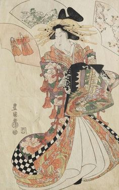 Courtesan.   Ukiyo-e woodblock print.  1810's, Japan.  Artist Utagawa Toyokuni I