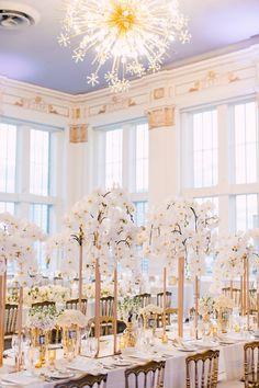 Orchid Wonderland - WedLuxe Magazine Wedding Columns, Wedding Backdrop Design, Cocktail Wedding Reception, Wedding Reception Decorations, Wedding Ideas, Crystal Wedding Decor, Orchid Centerpieces, Orchid Bouquet, Perfect Bride