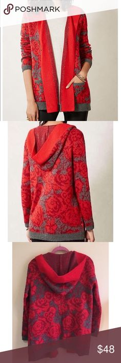Sparrow red hooded sweater Sparrow red hooded sweater  EUC size xs but also could work for a S Anthropologie Sweaters