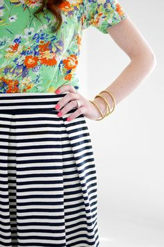 Kate Spade Inspired skirt, Floral handmade top and neon pink nails