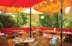 Fabric canopies at Norma's Restaurant at The Parker, Palm Springs, CA