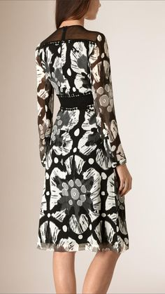 Tie-dye Print Crepe de Chine and Lace Dress | Burberry