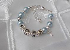 Baby Boy Baptism Name Bracelet Id Personalized Christening