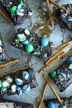Beer and Pretzel Brownies by @Heather Creswell Creswell Creswell Christo