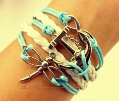 Infinity anchor bracelet  dragonfly bracelet wax rope by Carlydiy, $3.99