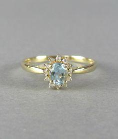 PRETTY blue topaz vintage engagement ring diamond by LeolaRevives