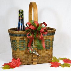 Handwoven Reed or Wicker Double Wine Bottle Basket with Wine Accent