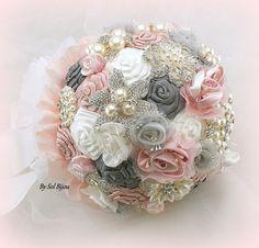 Broche ramo blanco plata Blush color de rosa Bouquet de