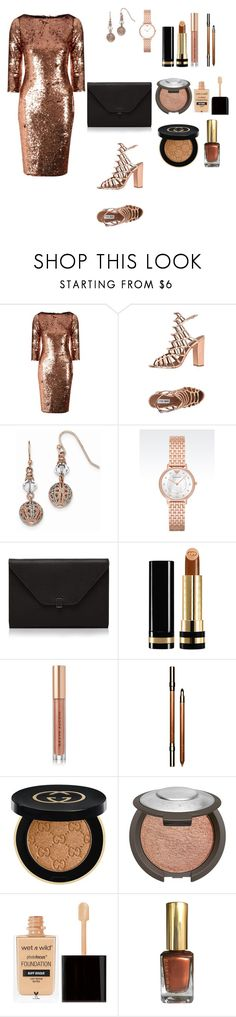 """""""The power copper"""" by kaitis ❤ liked on Polyvore featuring Alice & You, Steve Madden, 1928, Emporio Armani, Valextra, Gucci, Kevyn Aucoin, Clarins and Becca"""