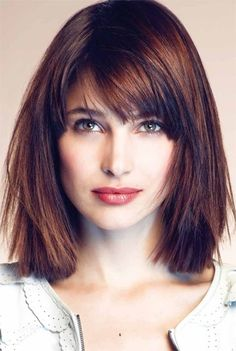 Hairstyles with bangs for older women gallery of medium straight medium length hairstyle for square face layering shattered edges and auburn highlights distract attention from the heavy chin and leave a very urmus Gallery