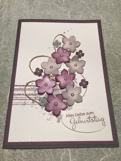 edle handgefertigte 3D Stampin  Up! Grußkarte Geburtstag Karte Blumen Flowers