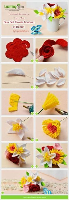 Tutorial on How to Make Easy Felt Flower Bouquet at Home from LC.Pandahall.com #feltflowers