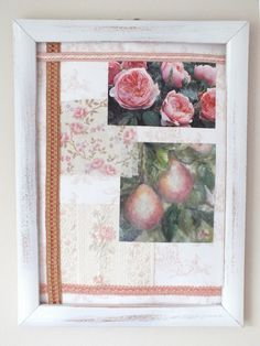 ART COLLAGE PICTURE FRENCH SHABBY CHIC STYLE ORIGINAL FRAMED PINK ROSES & PEARS