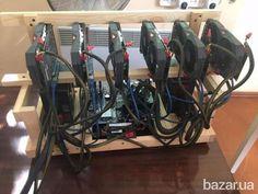 Майнинг ферма для добычи криптовалют. Материнская плата на 6 видеокарт, установлено 6 видеокарт Gigabyte 1060 6 Гиговые. Блок питания 835 watt...