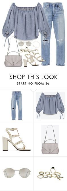 """""""Untitled#4337"""" by fashionnfacts ❤ liked on Polyvore featuring Citizens of Humanity, Vichy, Valentino, Yves Saint Laurent, Forever 21 and Tiffany & Co."""