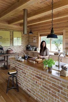 Dirty Kitchen Design, Kitchen Room Design, Kitchen Interior, Kitchen Decor, Wooden House Design, Small House Design, House Construction Plan, Beautiful House Plans, Beautiful Kitchens