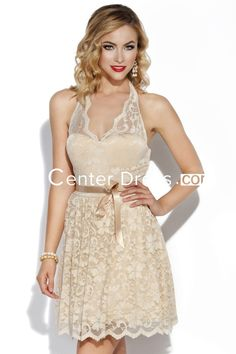 $152.79-Vintage V-Neck Sleeveless Lace Backless Halter Homecoming Dress with Belt. http://www.ucenterdress.com/a-line-bowed-mini-v-neck-sleeveless-lace-prom-dress-with-backless-style-pMK_301254.html.  Great homecoming find up to 50% off! Free Shipping. Follow us, you will find many stylish cheap homecoming dresses under $100. We have more inexpensive homecoming dress, vintage, unique, tight, elegant homecoming dresses for teens, freshman, curvy girls. #homecoming