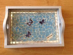 """Time Flies"" mosaic tray, by Lyn Stevenson"
