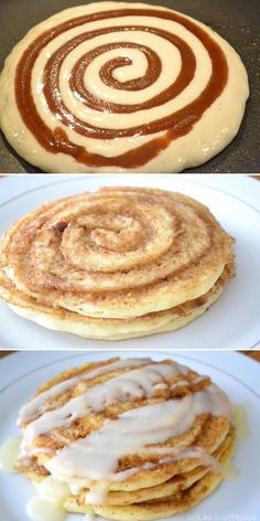 Cinnamon roll pancakes Are these breakfast or dessert? Either way I'll eat them... combining cinnamon rolls and pancakes sounds like an amazing idea!