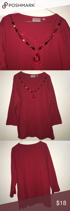 Quaker factory red blouse Perfect for holidays, in very good condition, 100% cotton , hand wash cold 😍 quaker factory Tops Blouses