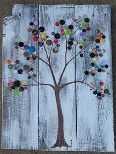 rustic button tree on recycled wood by dreamingdogdesigns on Etsy