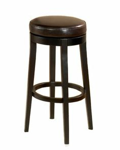 Armen Living Leather Swivel Barstool Brown Leather by Armen Living. $178.00. 1.8 Density, Fire retardant foam padding. Genuine Bycast leather. Solid wood construction. Designed with lofts, condos, town homes and apartments in mind.. Works very well with transitional decor. While the refined design profile and upright posture of the backless swivel barstool whispers of minimalism, several lively cushion color choices offer a full palette of vivid expression. Al...