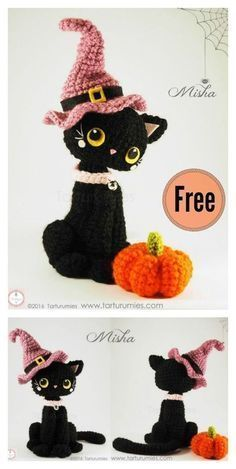 Crochet Toys Patterns Amigurumi Halloween Black Cat Free Crochet Pattern - This sweet Amigurumi Halloween Black Cat Free Crochet Pattern will be a great decoration for fall. They will inspire you and any wickedly wonderful friends. Crochet Pour Halloween, Halloween Crochet Patterns, Crochet Cat Pattern, Crochet Amigurumi Free Patterns, Crochet Stitches Patterns, Cross Stitches, Crochet Mittens, Loom Patterns, Chat Crochet