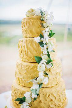 Gold Wedding Cake   On SMP: http://www.stylemepretty.com/2013/11/27/new-york-farm-wedding-from-colette-kulig-photography Photography: Colette Kulig Photography