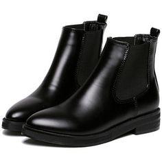 SheIn(sheinside) Black Chunky Heel Point Toe PU Boots