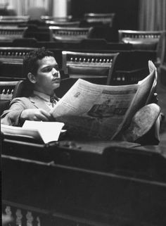 vernon merritt III - georgia rep. julian bond reading in the empty hall of the georgia house of repersentatives, 1968