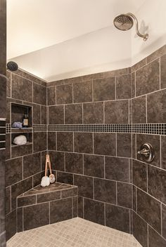 Greatest #Shower Ever! Walk-in shower with no door, 2 shower heads, built-in shampoo niche and corner bench seat