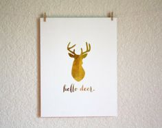 Gold Foil Print - Hello Deer