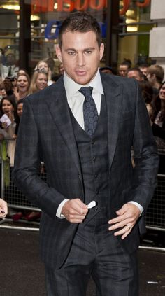 Channing Tatum wore a plaid suit for a July 2012 appearance in London.