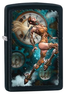 Leap into a mystical world with this black matte windproof lighter. This lighter features a steampunk aviator girl jumping in the air with clocks and clouds in Zippo Collection, Cool Lighters, Mystical World, Light My Fire, Zippo Lighter, Outdoor Survival, Made In America, Mans Best Friend, Printmaking