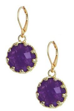 HauteLook | Bold & Basic Gemstone Jewelry: 18K Gold Clad Amethyst Cradle Drop Earrings