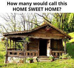 Tiny cabin with a wrap-around porch. I know the view much be wonderful, too. Small Log Cabin, Little Cabin, Tiny House Cabin, Log Cabin Homes, Cozy Cabin, Guest Cabin, Cabin Tent, Old Cabins, Cabins In The Woods