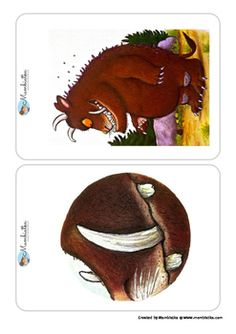 The Gruffalo - Body Parts Flashcards by Mambiatka Gruffalo Activities, Book Activities, Summer Camp Crafts, Camping Crafts, Story Stones, Gruffalo Characters, Art For Kids, Crafts For Kids, Lego Pictures