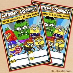 Free printable Minion Avengers themed party invitation for birthday parties. Minion Party Decorations, Kids Party Themes, Party Fun, Party Ideas, Diy Invitations, Invitation Set, Birthday Invitations, Minion Avengers, Minions