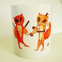 Fox party mug by schalle on Etsy, $18.00