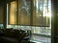 Motorized solar screen shades. Manufactured by Insolroll using Phiefer Sheerweave fabric.