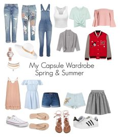 """My Capsule Wardrobe Spring&Summer"" by audrey-conant on Polyvore featuring Current/Elliott, Boohoo, River Island, Miss Selfridge, Madewell, LE3NO, Converse, Aéropostale, adidas and Topshop"