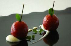 Receta Cerezas de foie-gras con crema de manzana ácida