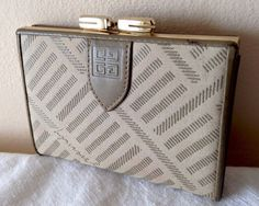 VINTAGE 1980s GIVENCHY DESIGNER CANVAS & REAL LEATHER CLASP COIN PURSE WALLET | eBay