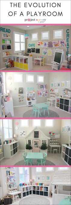 The Evolution of a Playroom – Project Nursery Plenty of playroom inspiration in this evolving playroom. Little Girls Playroom, Toddler Playroom, Playroom Organization, Playroom Decor, Boy Decor, Playroom Ideas, Nursery Ideas, Modern Playroom, Playroom Furniture