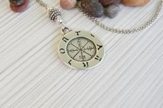Your place to buy and sell all things handmade Long Pendant Necklace, Coin Necklace, Ancient Greek Tattoo, Wind Rose, Alchemy Symbols, Pretty Words, Ancient Greece, Compass, Pocket Watch