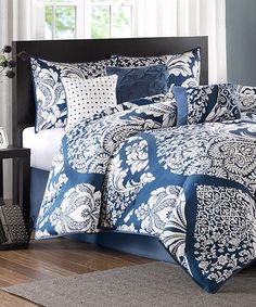 Another great find on #zulily! Indigo Floral Seven-Piece Cotton Sateen Comforter Set #zulilyfinds