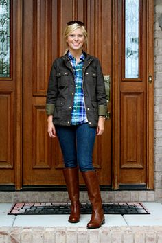 This is it! The J.Crew Downtown Field Jacket in Mossy Brown. Love love love it with the tall boots and perfect plaid shirt :) Life with Emily | a life + style blog.