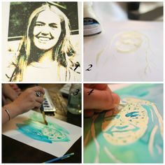 Easy Watercolor Portrait -  Supplies Needed: Photo;  Water Color Paper;  Art Masking Fluid (you can get this at any art supply store... even Walmart); fine-tipped paint brush; Water colors; light box.