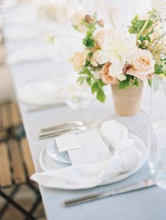 A real wedding on the Emerald Coast, Florida. A Zimmerman Events Intimate and Small Spring Wedding at Alys Beach. Today, Kellie shares her wedding planning story and takes us behind the scenes of this gorgeous Spring wedding. This wedding will inspire you with spring floral arrangements, wedding ceremory ideas, bridal bouquets, light blue weddomg stationery, intimate tablescapes, natural blush wedding flowers, and Florida wedding venue inspiration. Wedding Reception Flowers, Blush Wedding Flowers, Garland Wedding, Floral Wedding, Wedding Colors, Wedding Bouquet, Wedding Table, Wedding Ideas, Bridal Bouquets